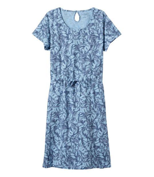 コットン/テンセル・スラブ・ドレス、半袖 タイフロント プリント, , hi-res