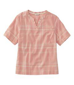 テクスチャード・リネン/コットン・シャツ、半袖 プラッド, , hi-res