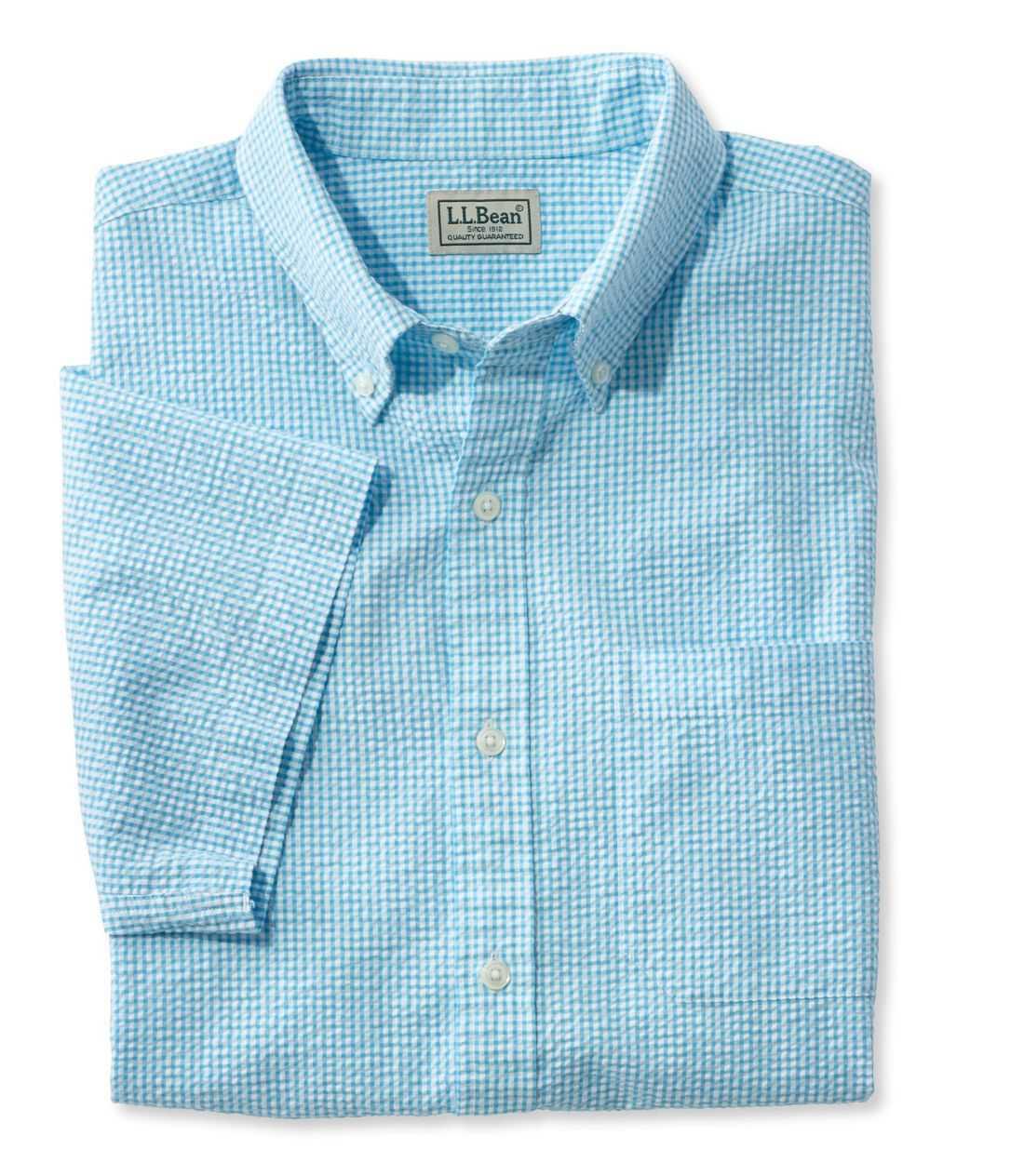 シアサッカー・シャツ、半袖 ギンガム