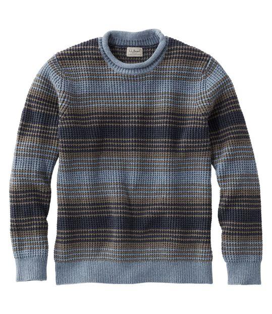 オーガニック・コットン・セーター、ロールネック クルー ストライプ, , hi-res