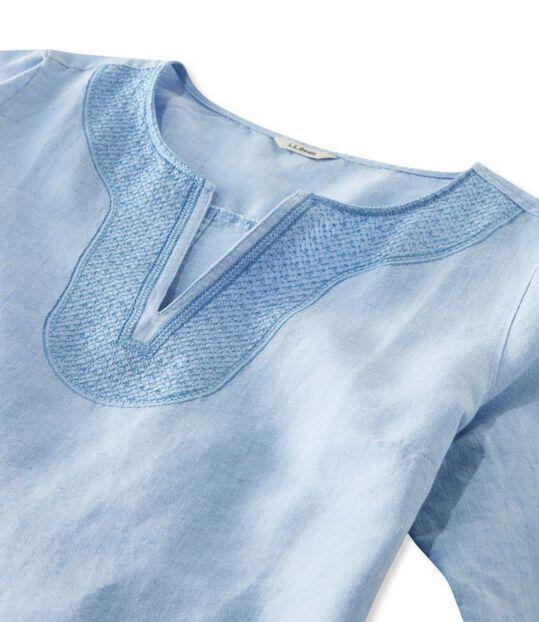 エンブロイダリー・リネン/コットン・シャツ、7分丈袖, , hi-res