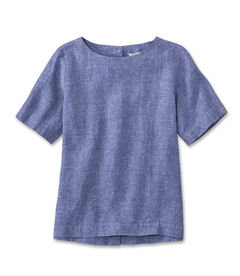 プレミアム・ウォッシャブル・リネン・シャツ、プルオーバー 半袖, , hi-res