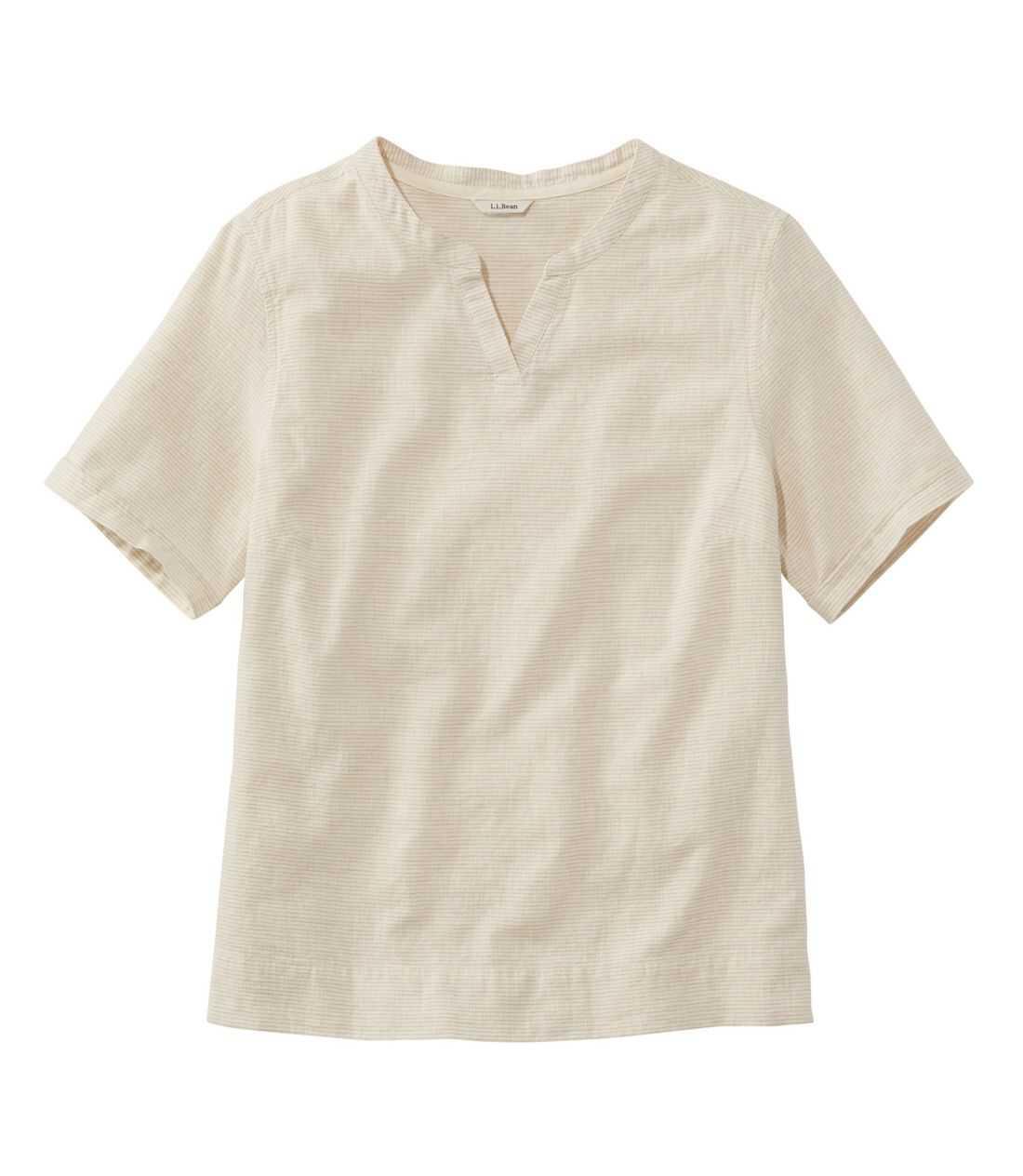 テクスチャード・リネン/コットン・シャツ、半袖 ストライプ