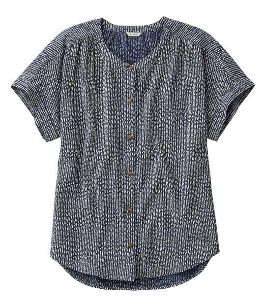 ソフト・コットン・クリンクル・シャツ、半袖 プリント, , hi-res