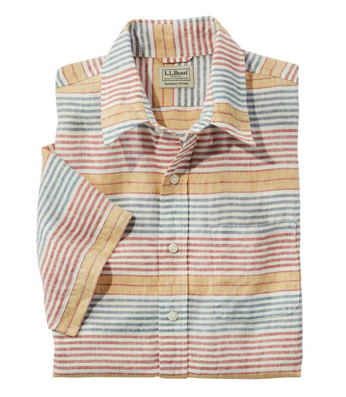 エル・エル・ビーン・リネン・シャツ、半袖 ストライプ