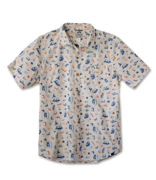 メンズ オッター・クリフ・シャツ、半袖 プリント