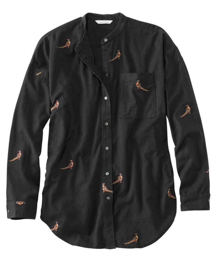 シグネチャー・ライトウェイト・フランネル・オーバーサイズ・シャツ、刺繍入り