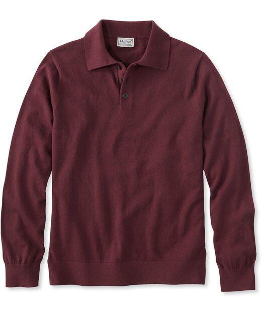 コットン/カシミヤ・ポロシャツセーター、長袖, , hi-res