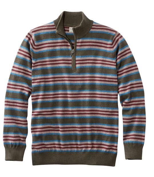 コットン/カシミヤ・セーター、クォータージップ ストライプ, , hi-res