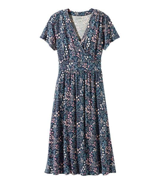 サマー・ニット・ドレス、半袖 フローラル, , hi-res